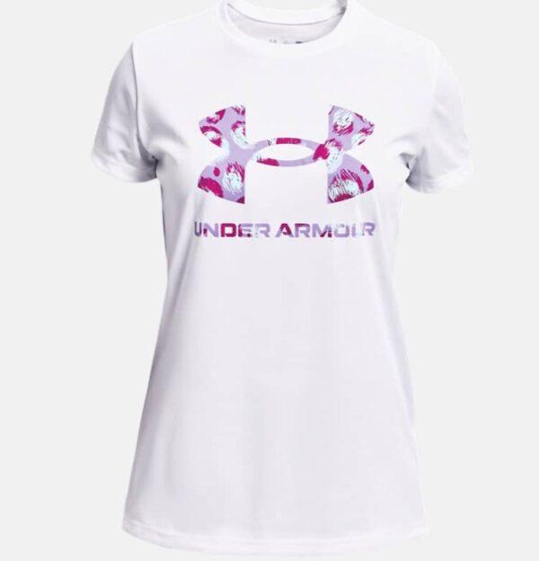Girls_Under_Armour_Graphic_Big_logo_Short_Sleeve_White